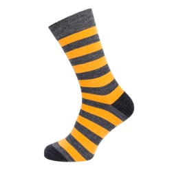 Mens stripe sock Grey/ mustard stripe UK 7-11