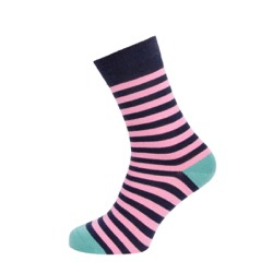 Womens Striped socks Navy/ Pink Stripe UK 4-7